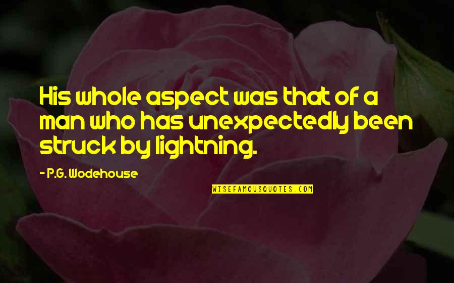 Struck By Lightning Best Quotes By P.G. Wodehouse: His whole aspect was that of a man