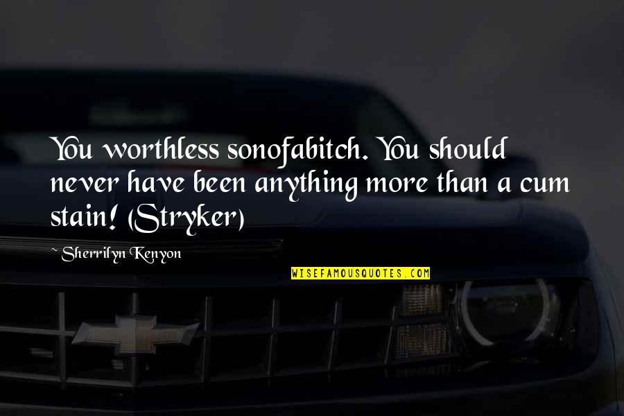 Stryker Quotes By Sherrilyn Kenyon: You worthless sonofabitch. You should never have been