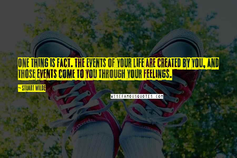 Stuart Wilde quotes: One thing is fact. The events of your life are created by you, and those events come to you through your feelings.