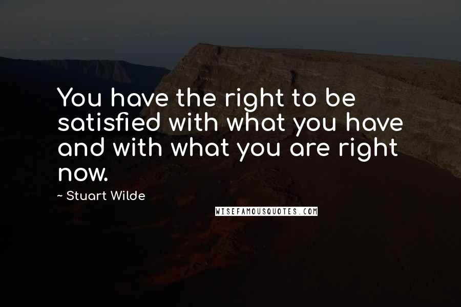 Stuart Wilde quotes: You have the right to be satisfied with what you have and with what you are right now.