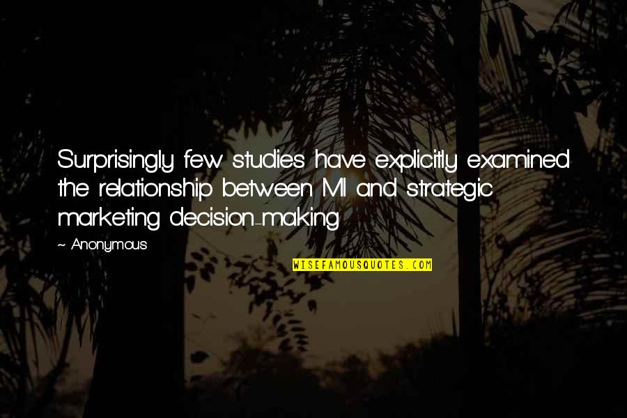 Studies Quotes By Anonymous: Surprisingly few studies have explicitly examined the relationship