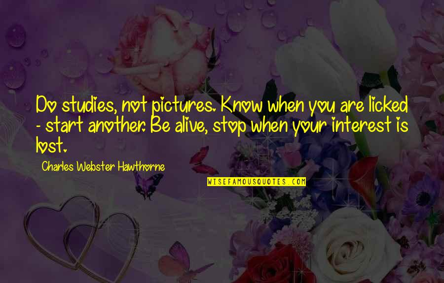 Studies Quotes By Charles Webster Hawthorne: Do studies, not pictures. Know when you are