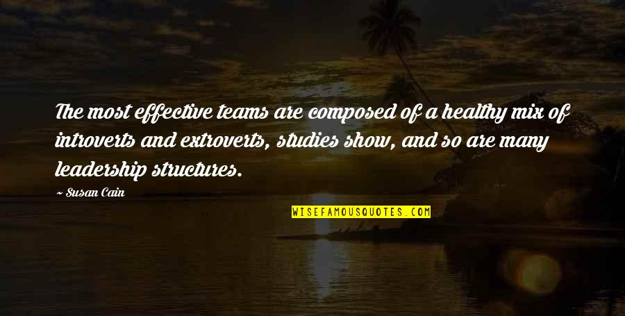 Studies Quotes By Susan Cain: The most effective teams are composed of a