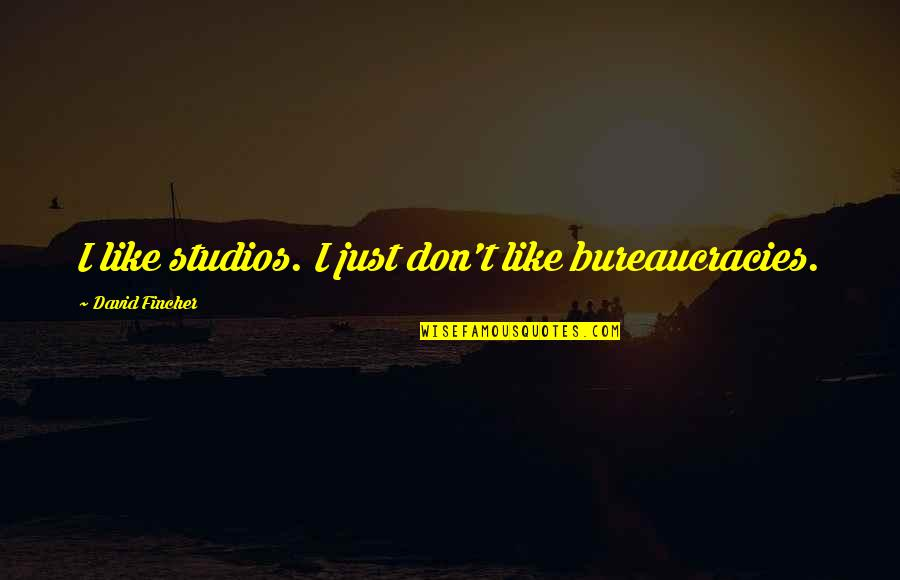 Studios Quotes By David Fincher: I like studios. I just don't like bureaucracies.