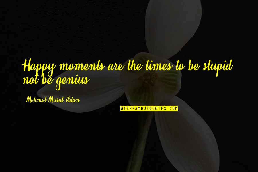Stupid And Happy Quotes By Mehmet Murat Ildan: Happy moments are the times to be stupid,