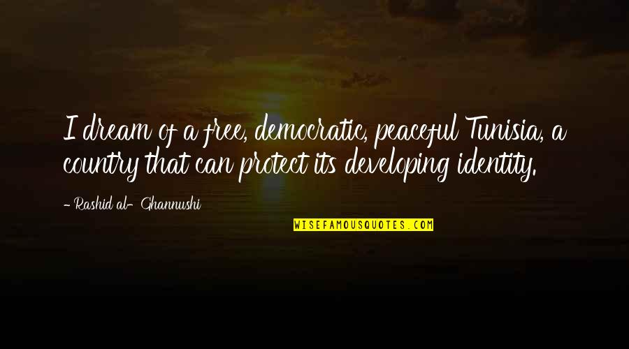 Stupid Voters Quotes By Rashid Al-Ghannushi: I dream of a free, democratic, peaceful Tunisia,