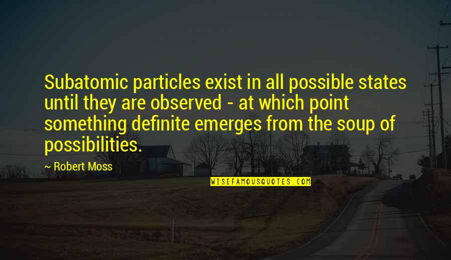 Subatomic Particles Quotes By Robert Moss: Subatomic particles exist in all possible states until