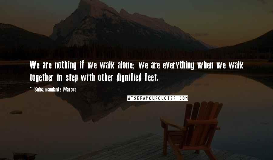 Subcomandante Marcos quotes: We are nothing if we walk alone; we are everything when we walk together in step with other dignified feet.