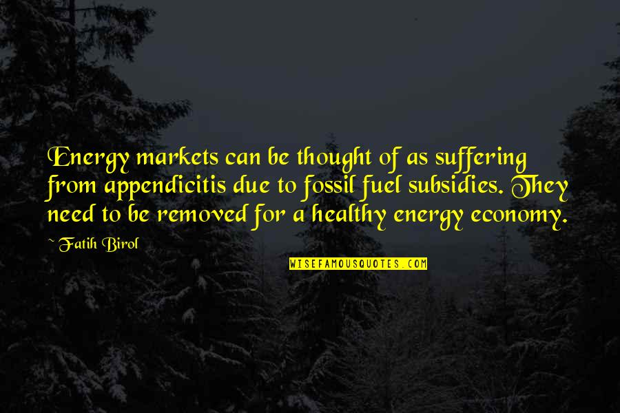 Subsidies Quotes By Fatih Birol: Energy markets can be thought of as suffering