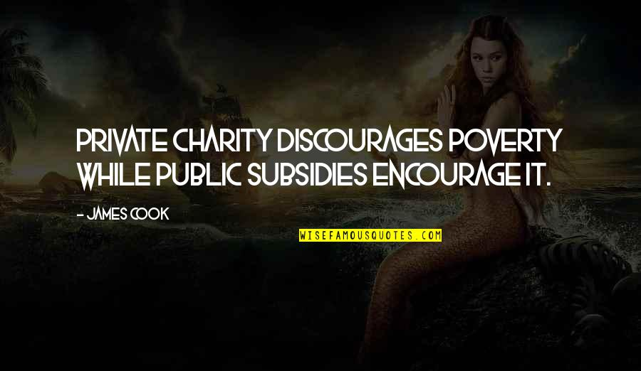 Subsidies Quotes By James Cook: Private charity discourages poverty while public subsidies encourage