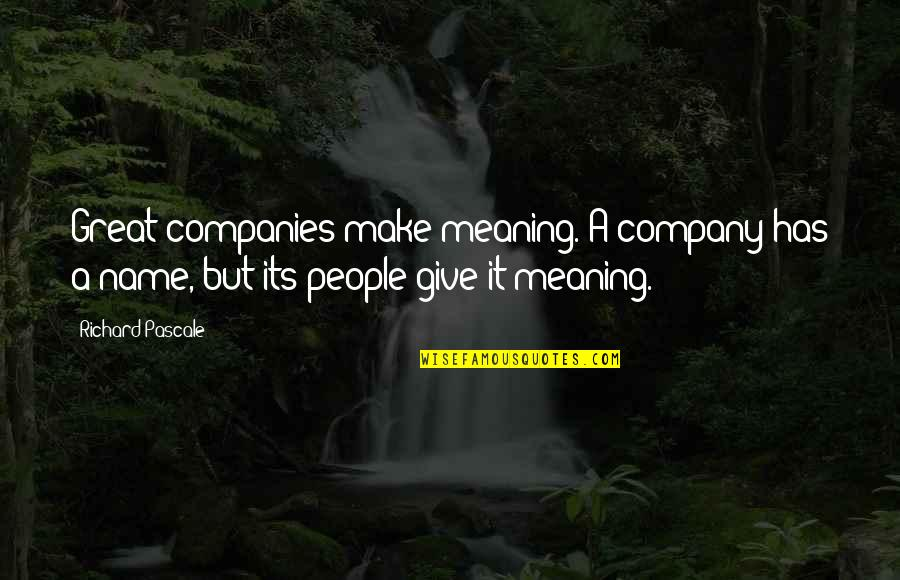 Substrata Quotes By Richard Pascale: Great companies make meaning. A company has a