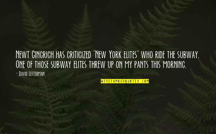 Subway Quotes By David Letterman: Newt Gingrich has criticized 'New York elites' who