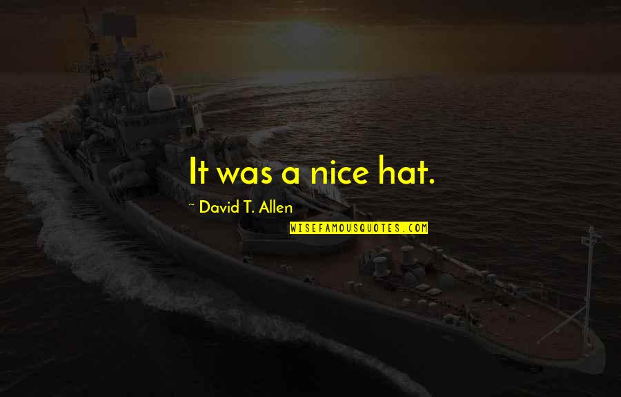 Succeeding Goals Quotes By David T. Allen: It was a nice hat.