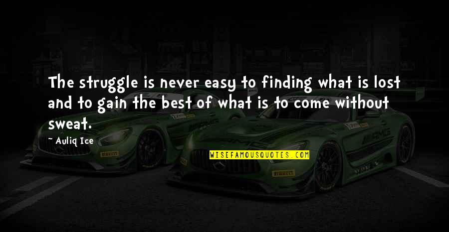Success Best Quotes By Auliq Ice: The struggle is never easy to finding what