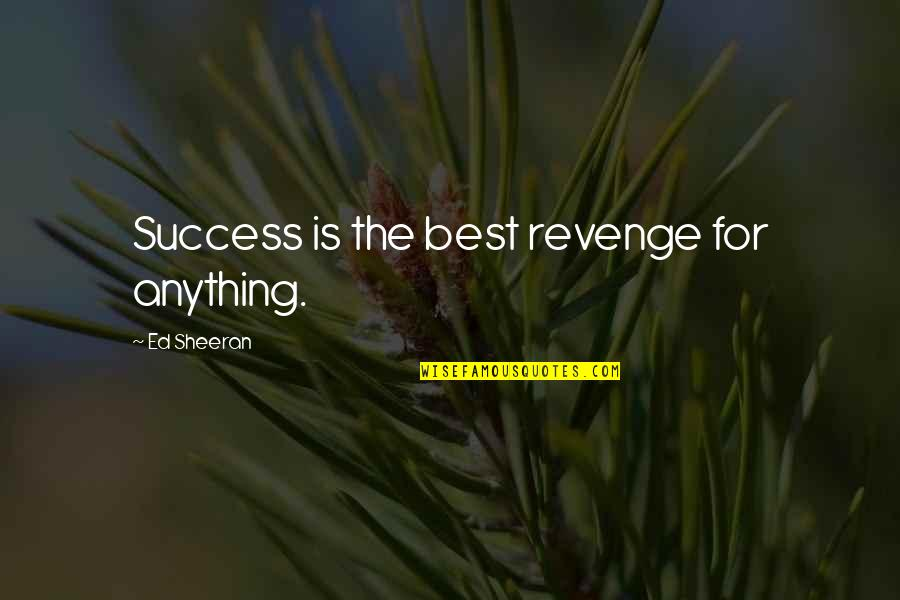 Success Best Quotes By Ed Sheeran: Success is the best revenge for anything.