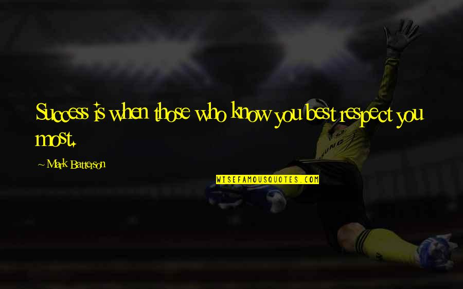 Success Best Quotes By Mark Batterson: Success is when those who know you best