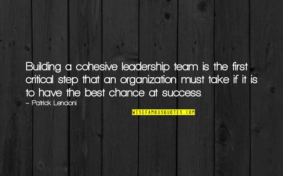 Success Best Quotes By Patrick Lencioni: Building a cohesive leadership team is the first
