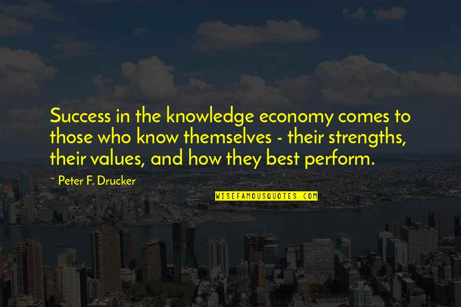 Success Best Quotes By Peter F. Drucker: Success in the knowledge economy comes to those