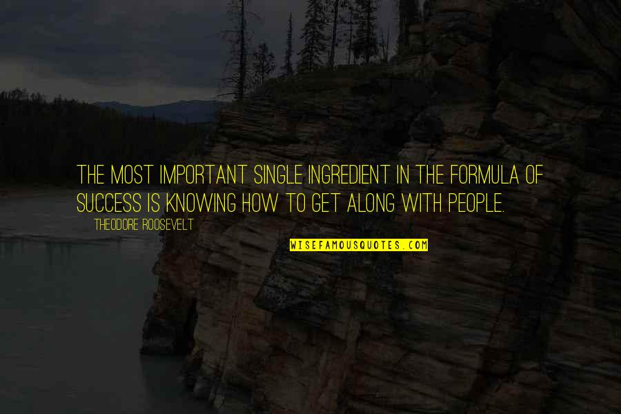 Success Formula Quotes By Theodore Roosevelt: The most important single ingredient in the formula