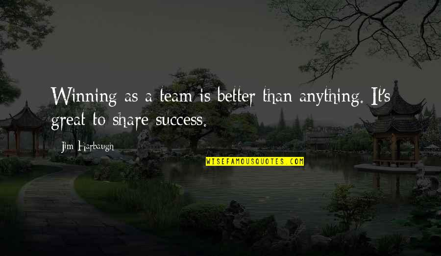 Success In Sports Quotes By Jim Harbaugh: Winning as a team is better than anything.