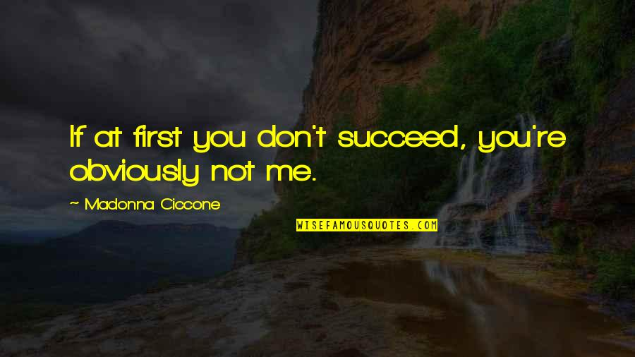 Success In Sports Quotes By Madonna Ciccone: If at first you don't succeed, you're obviously