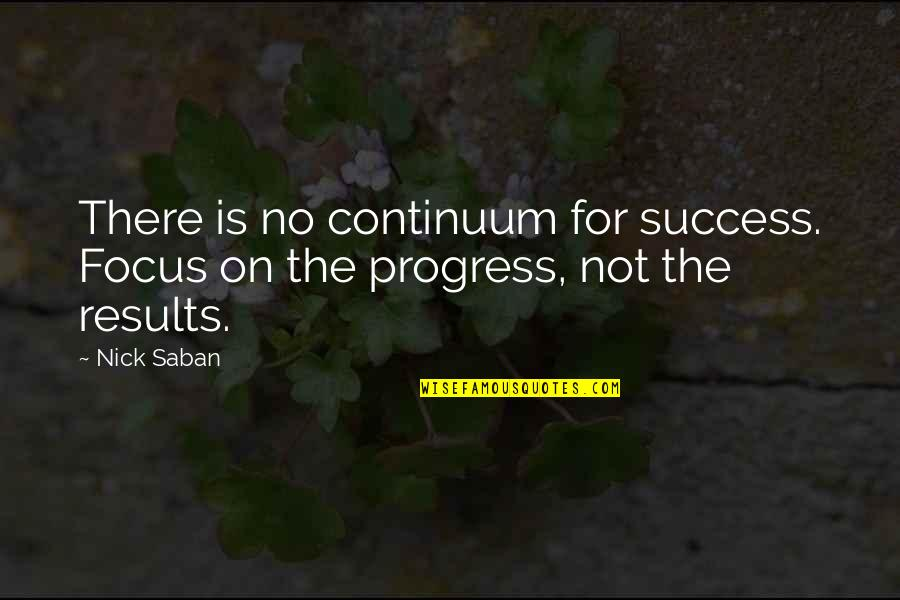 Success In Sports Quotes By Nick Saban: There is no continuum for success. Focus on