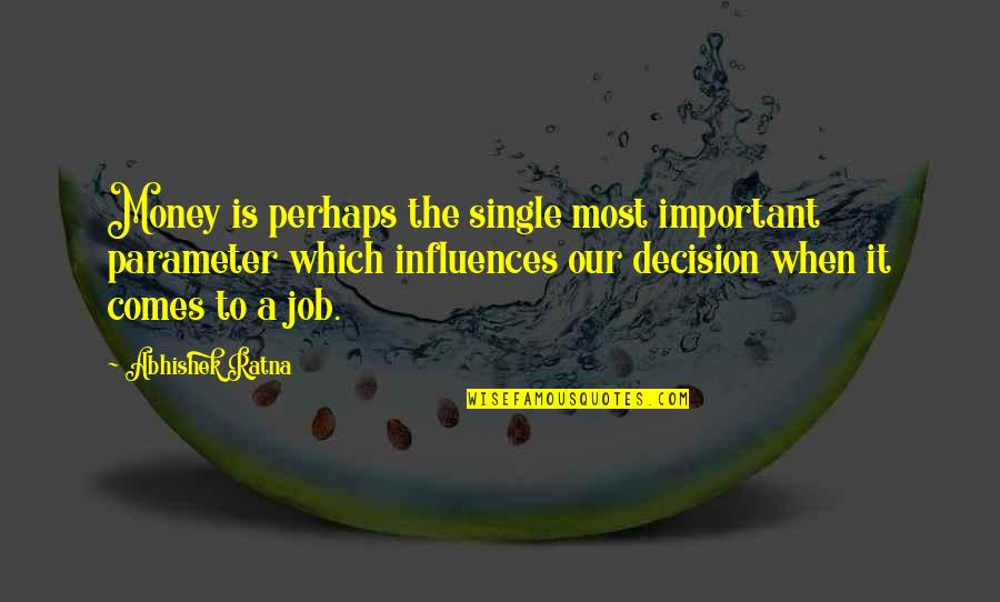 Success In Your Career Quotes By Abhishek Ratna: Money is perhaps the single most important parameter