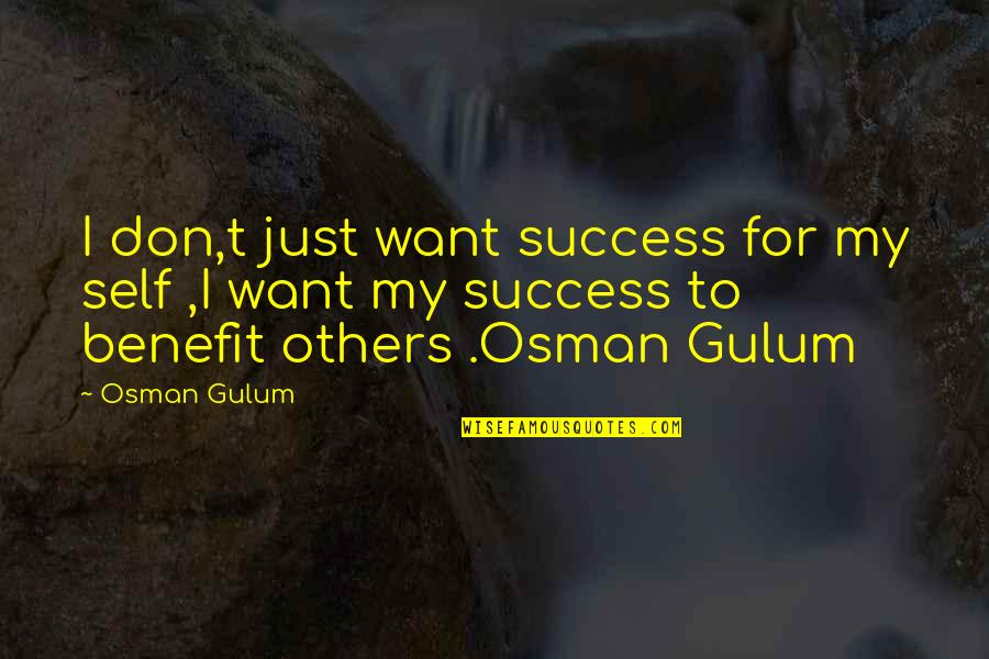 Success With The Help Of Others Quotes By Osman Gulum: I don,t just want success for my self
