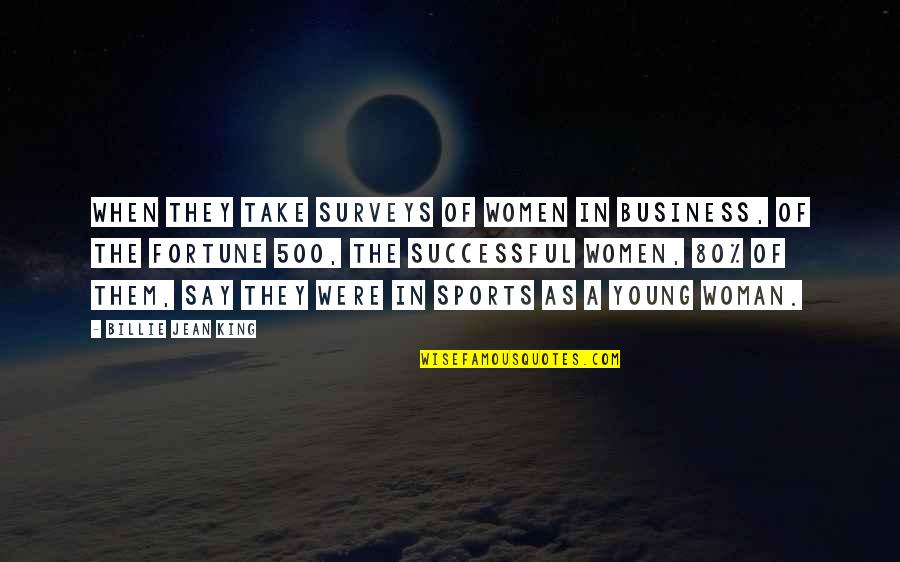Successful Business Woman Quotes By Billie Jean King: When they take surveys of women in business,