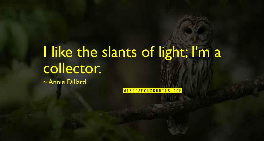 Suddenly It's Magic Quotes By Annie Dillard: I like the slants of light; I'm a