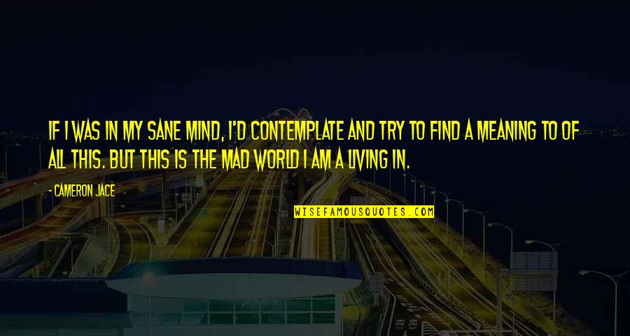 Suddenly It's Magic Quotes By Cameron Jace: If I was in my sane mind, I'd