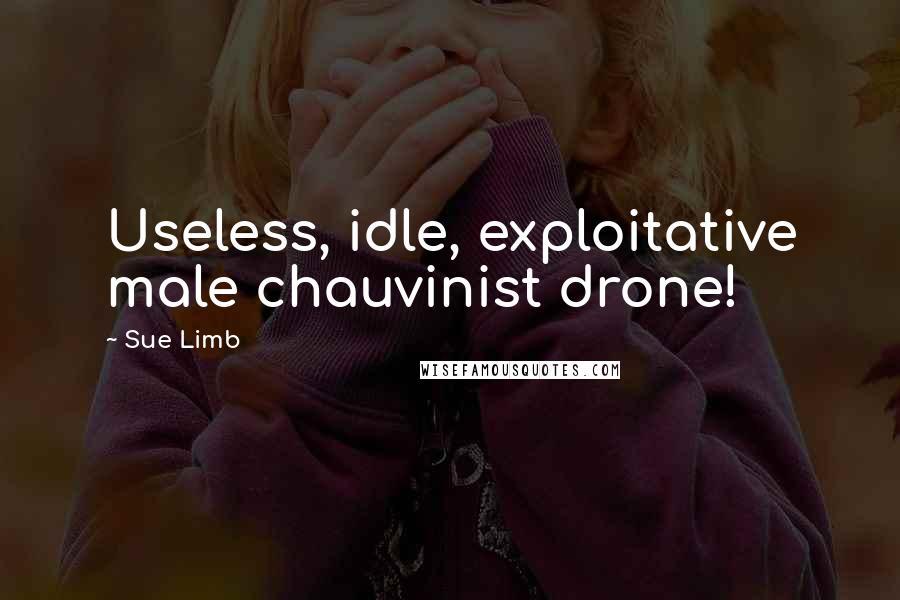 Sue Limb quotes: Useless, idle, exploitative male chauvinist drone!