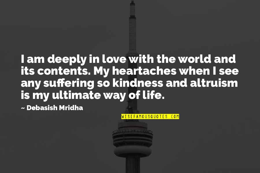 Suffering Buddha Quotes By Debasish Mridha: I am deeply in love with the world