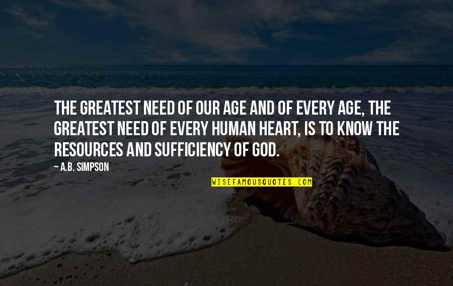 Sufficiency Quotes By A.B. Simpson: The greatest need of our age and of
