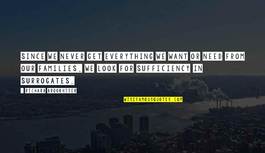 Sufficiency Quotes By Richard Brookhiser: Since we never get everything we want or
