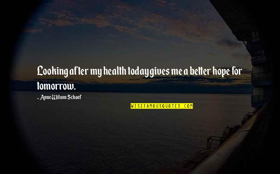 Suffuscans Quotes By Anne Wilson Schaef: Looking after my health today gives me a