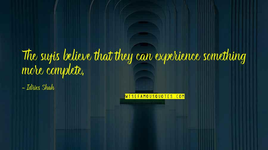 Sufism Quotes By Idries Shah: The sufis believe that they can experience something