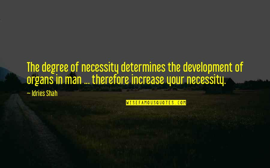 Sufism Quotes By Idries Shah: The degree of necessity determines the development of