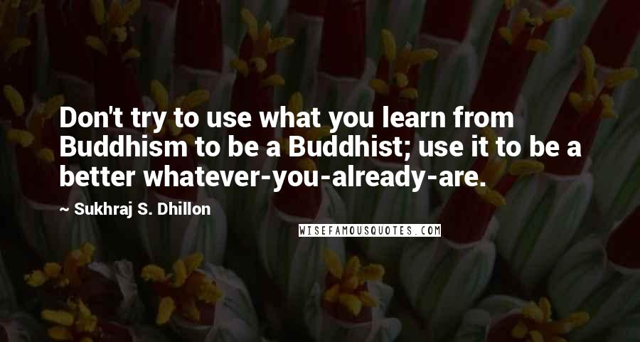 Sukhraj S. Dhillon quotes: Don't try to use what you learn from Buddhism to be a Buddhist; use it to be a better whatever-you-already-are.