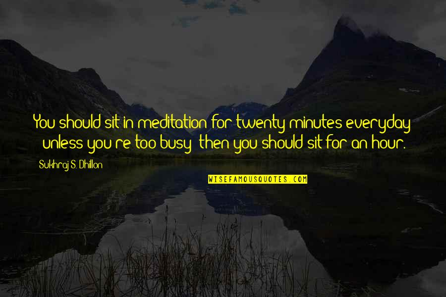 Sukhraj S. Dhillon Quotes By Sukhraj S. Dhillon: You should sit in meditation for twenty minutes