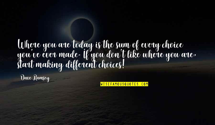 Sum Quotes By Dave Ramsey: Where you are today is the sum of