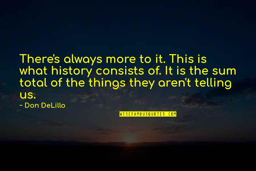 Sum Quotes By Don DeLillo: There's always more to it. This is what