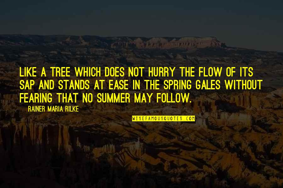 Summer And Spring Quotes By Rainer Maria Rilke: Like a tree which does not hurry the