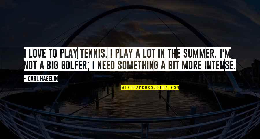 Summer Love Quotes By Carl Hagelin: I love to play tennis. I play a