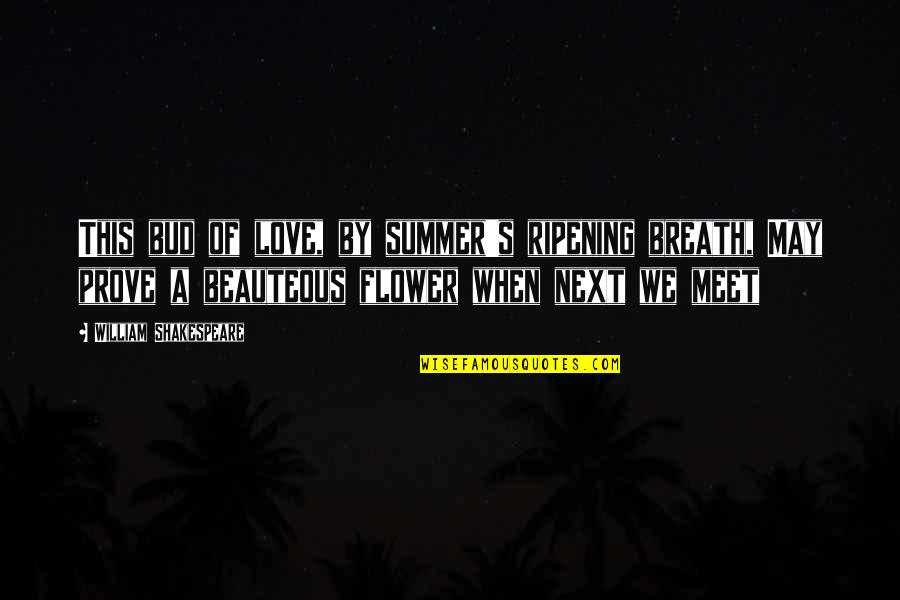 Summer Love Quotes By William Shakespeare: This bud of love, by summer's ripening breath,
