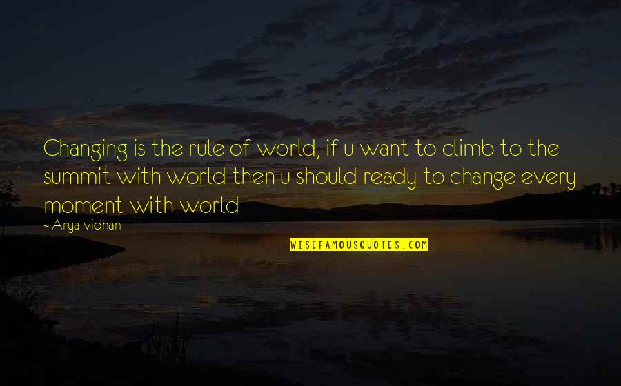 Summit's Quotes By Arya Vidhan: Changing is the rule of world, if u