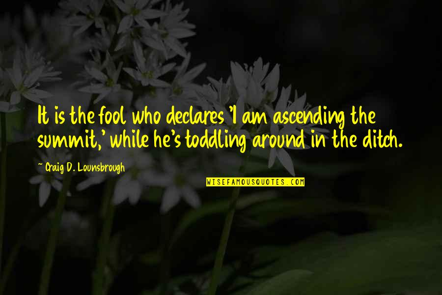 Summit's Quotes By Craig D. Lounsbrough: It is the fool who declares 'I am