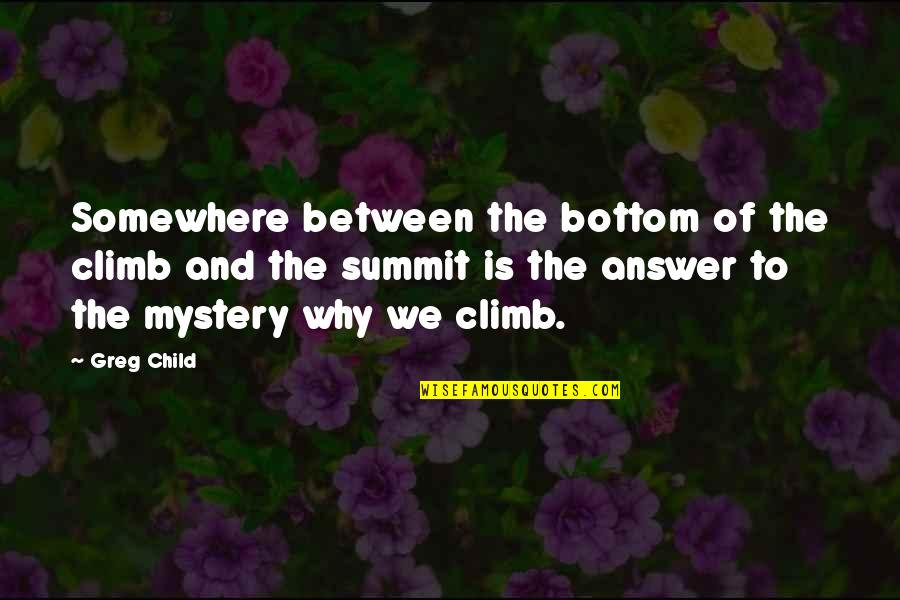 Summit's Quotes By Greg Child: Somewhere between the bottom of the climb and