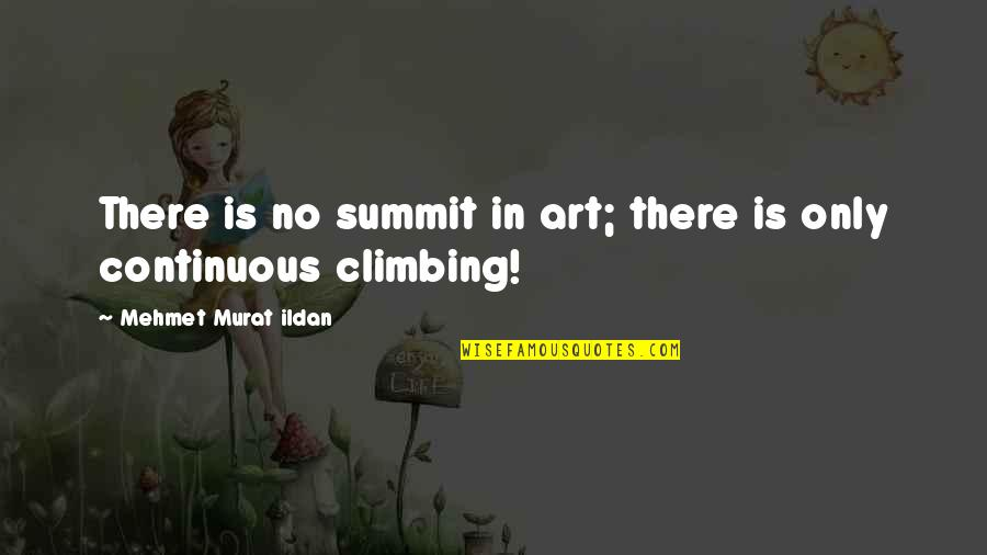 Summit's Quotes By Mehmet Murat Ildan: There is no summit in art; there is