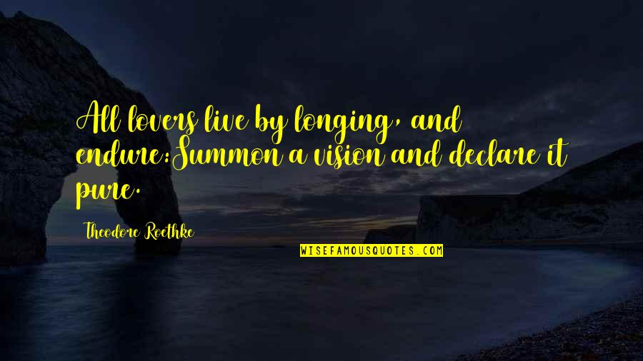 Summon Quotes By Theodore Roethke: All lovers live by longing, and endure:Summon a